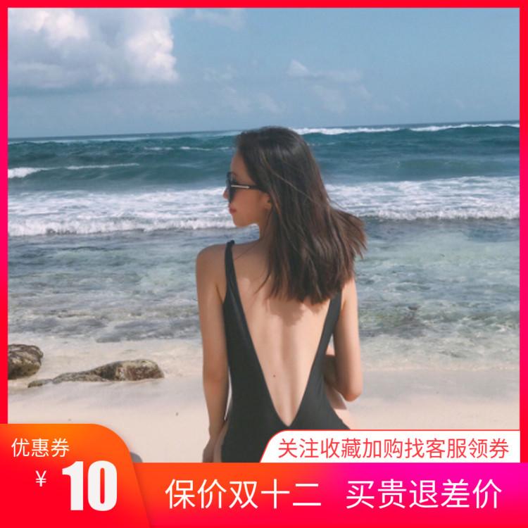 韩国黑色简约露背性感遮肚三角V领温泉沙滩度假泳装连体泳衣女
