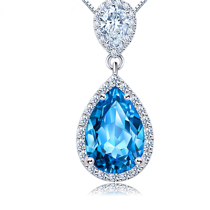 S925 full body Sterling Silver Ruby water drop necklace with blue crystal pendant and red crystal pendant