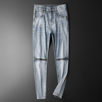 3026 P150 2021春夏新款男士中腰牛仔褲淺藍色拉鏈重工修身小直腳