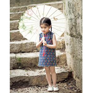 女童旗袍改良中式唐装棉碎花连衣裙儿童中国风公主裙无袖夏季表演