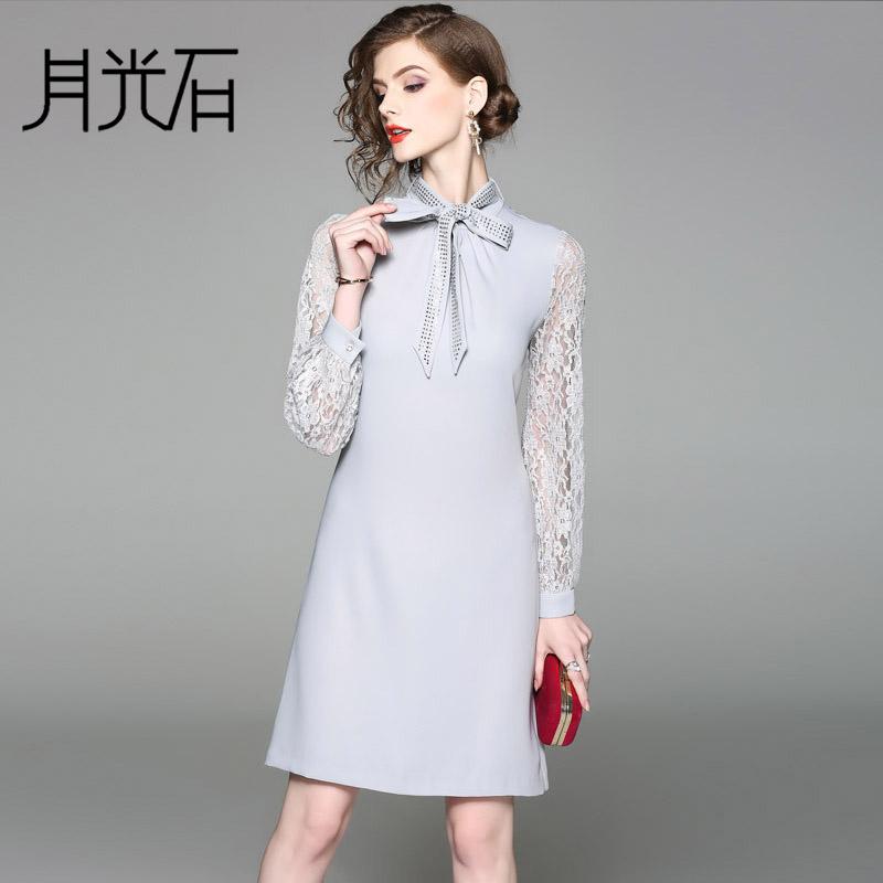 月光石女立领长袖镂空蕾丝修身连衣裙AL8715