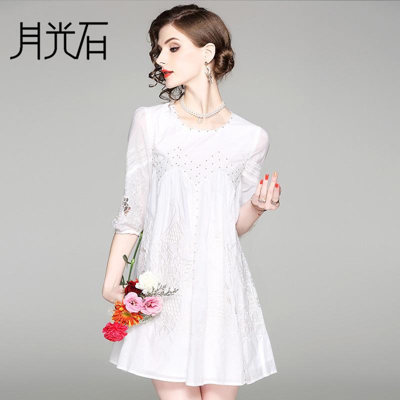 月光石新款时尚女圆领五分袖钉珠白色气质短裙A字连衣裙OL80341