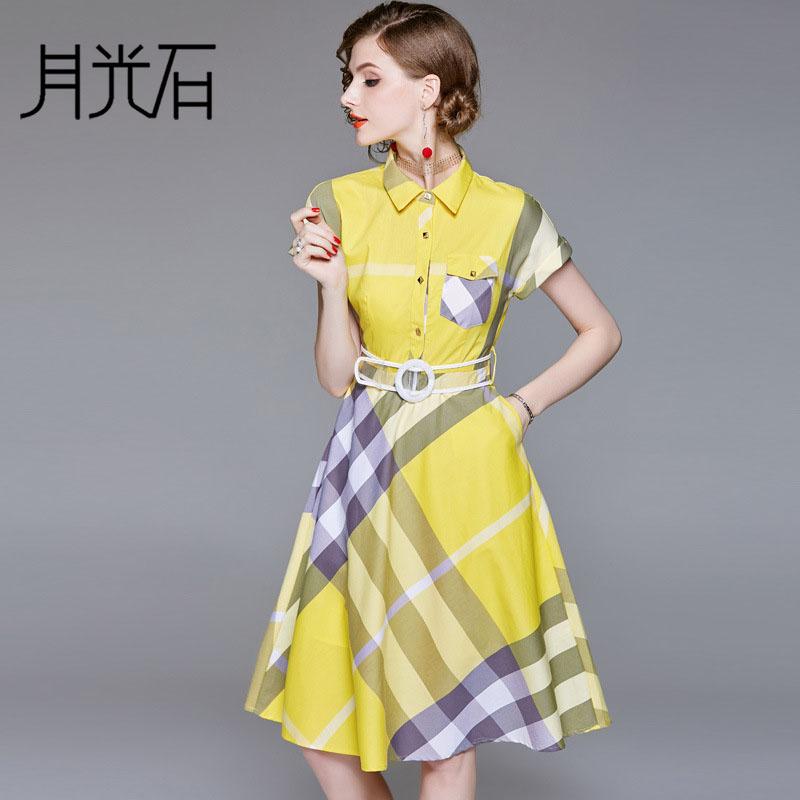 月光石欧美女装新款翻领短袖格纹单排扣收腰系带A字连衣裙AL8851