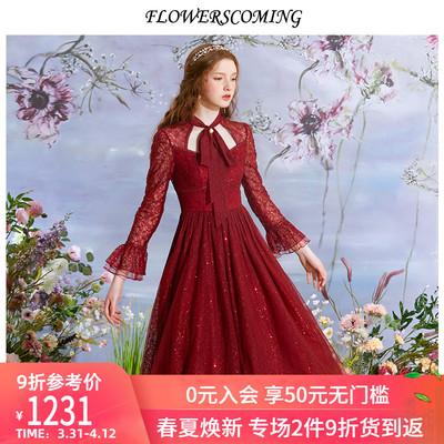 花儿开了2020春装新款酒红色公主连衣裙女气质优雅半透明网纱礼服