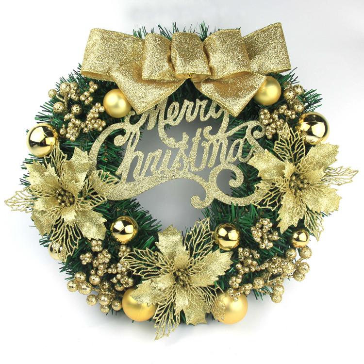 Christmas Wreath 40cm Christmas door hanging rattan circle shopping mall window decoration Christmas decorations