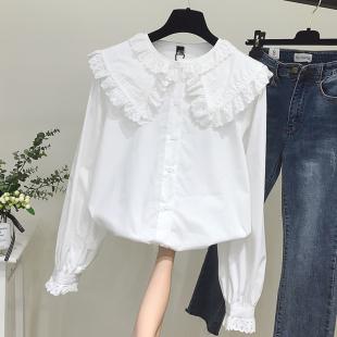 2019初秋新款长袖白色衬衫女设计感小众宽松上衣洋气大娃娃领衬衣