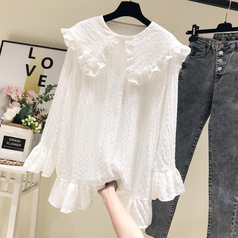 长袖雪纺衫2019秋装新款韩版娃娃领套头宽松百搭上衣蕾丝白衬衣女59.90元包邮