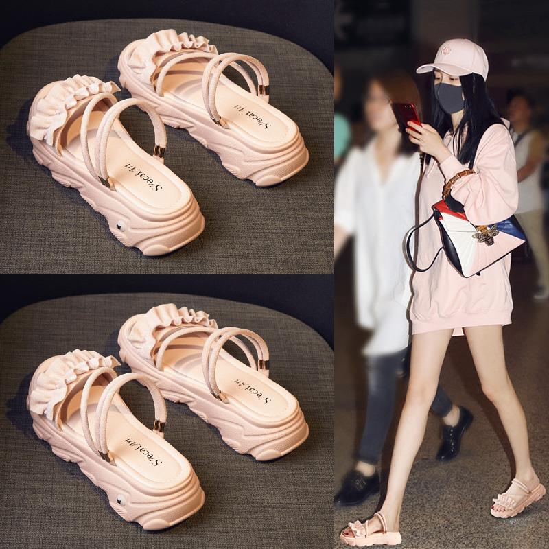 凉鞋女鞋2020年夏季新款流行时尚百搭平跟孕妇厚底松糕网红ins潮
