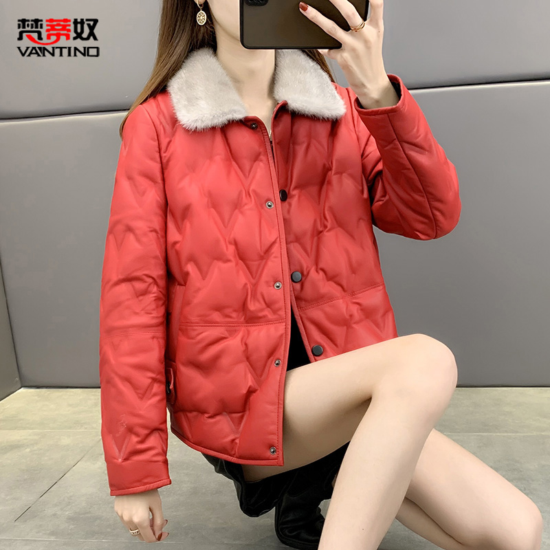 Mink leather down jacket women's short fashion leather jacket 2020 winter new small Haining leather jacket
