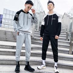 2019春季新款男士卫衣套装潮流拼色运动连帽两件套男 DS363TP85