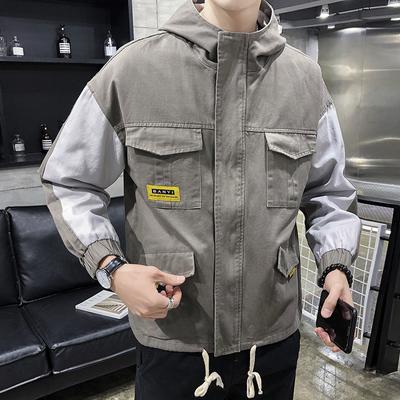 2019春季新款外套男装工装夹克连帽风衣棒球服韩版潮流DS324TP95