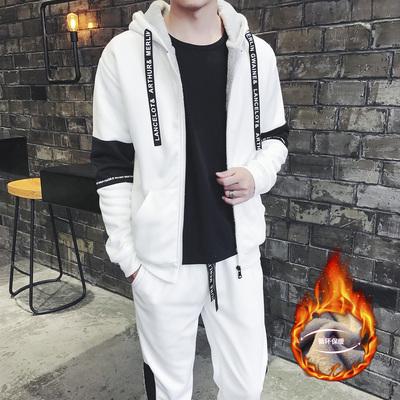 冬季休闲外套运动套装潮学生开衫卫衣男士加绒两件套新DJ904TP90