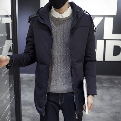 冬新款男装羽绒服韩版修身中长款青年加厚学生外套连帽DJ540P238