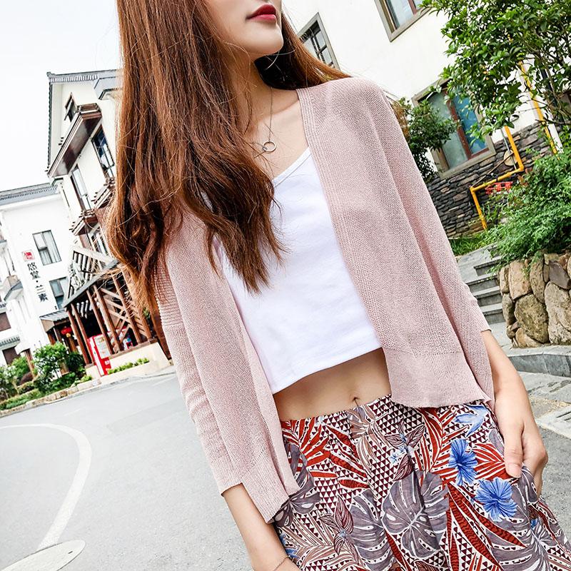 2018夏新款外搭防晒开衫女短款冰丝针织衫外套夏薄宽松外披空调衫
