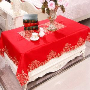红色婚喜庆餐桌布布艺长方形结婚婚庆园形台布桌旗茶几布欧式包邮