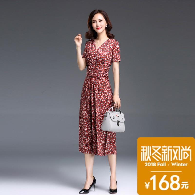 女士连衣裙2018新款夏季名媛气质收腰显瘦大码长款正式场合裙子