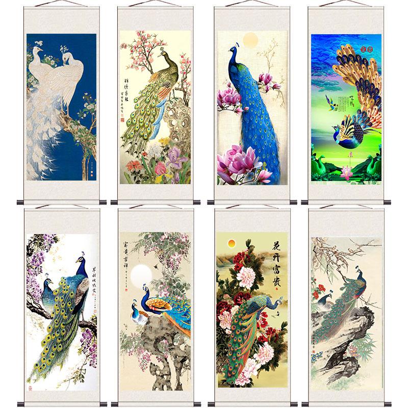 卷轴丝绸画挂画客厅装饰画花鸟画富贵孔雀图国画富贵吉祥满天下