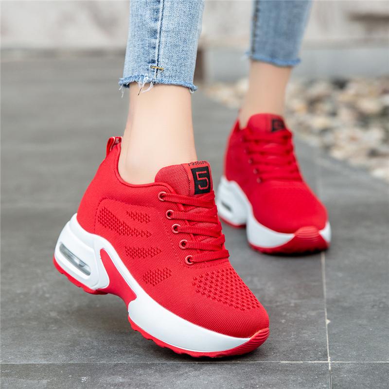 小码34码内增高女鞋春秋百搭小红鞋红色运动鞋本命年红鞋旅游波鞋