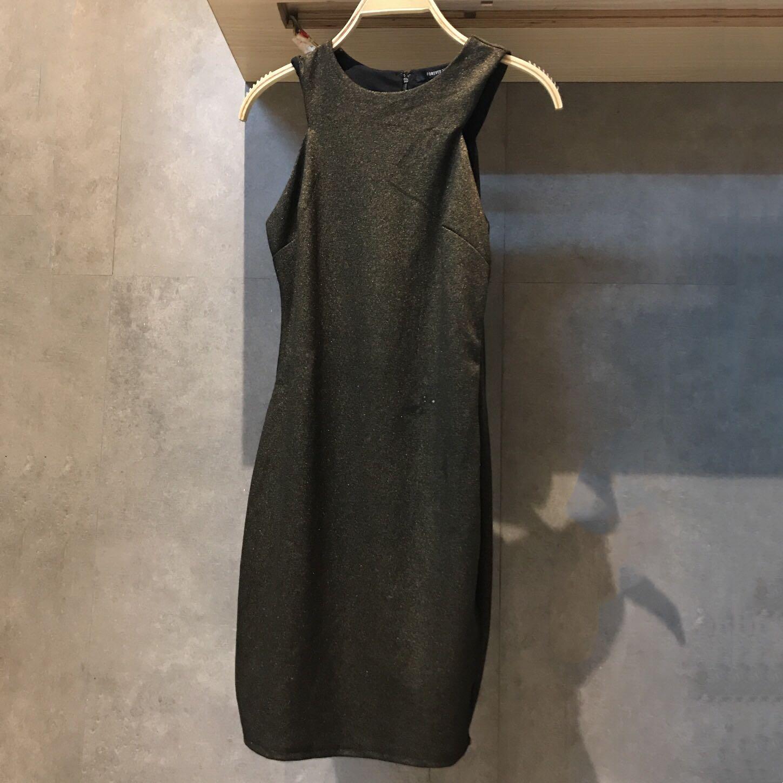 欧洲女夏连衣裙圆领无袖金属色收腰简约经典大气显高显瘦时髦热门