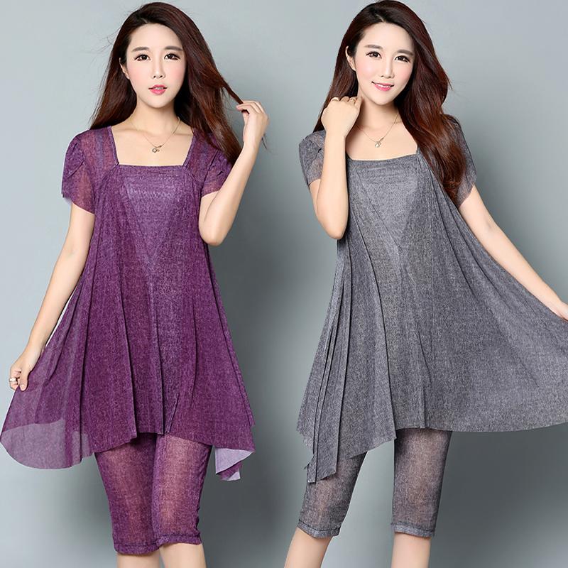 大码女装夏装中年新款胖mm显瘦连衣裙宽松加肥加大两件套装200斤