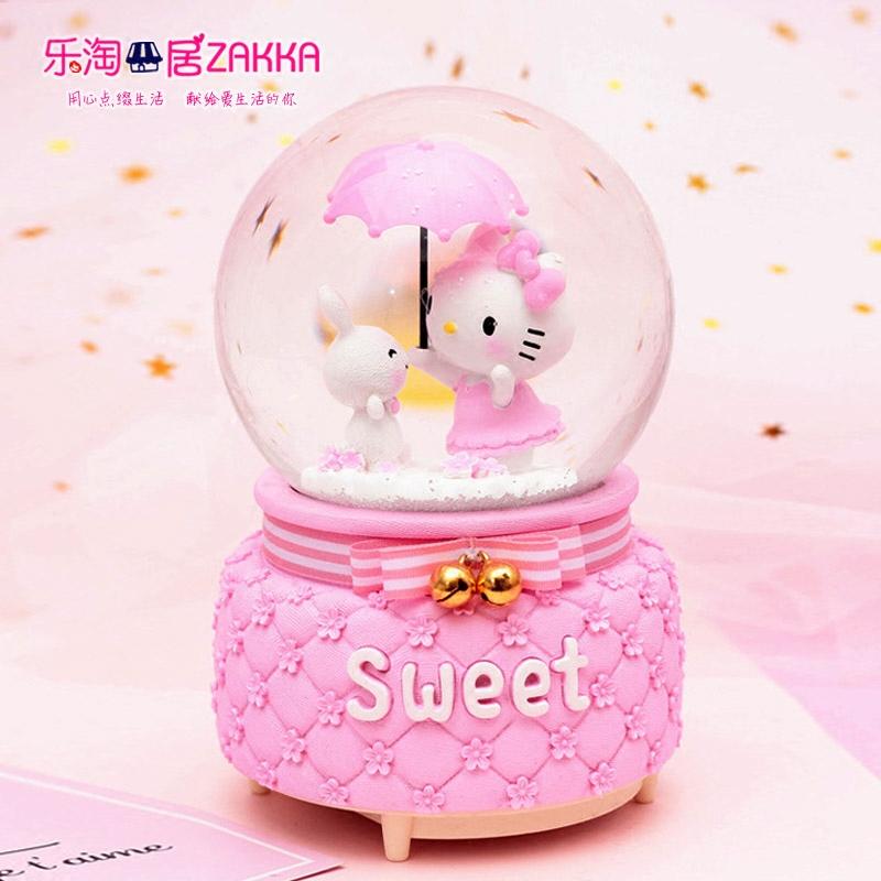 送女孩kt凯蒂猫雪花旋转带灯发光八音盒音乐盒水晶球创意生日礼物