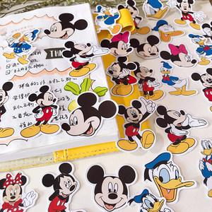 迪士尼卡通米奇米老鼠唐老鸭贴纸可爱少女心手账一本手机背壳滴胶