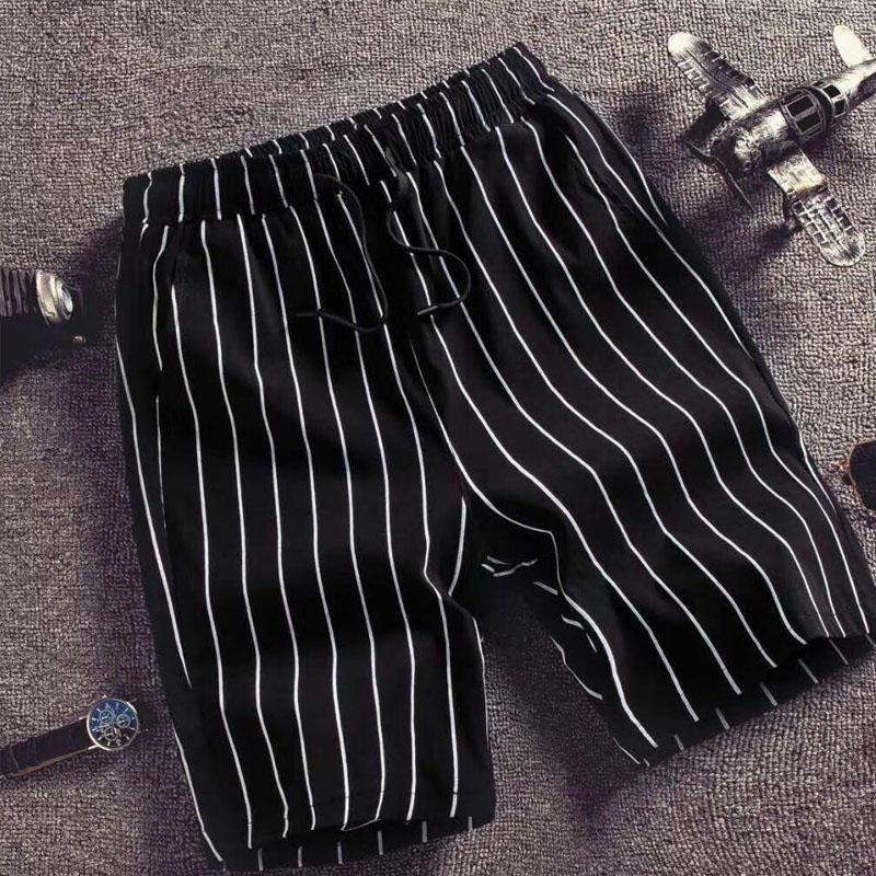 夏季新品条纹休闲短裤男士薄款韩版青少年运动宽松沙滩裤五分裤