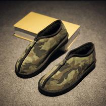 和尚棉鞋中国风情侣面包棉男鞋日系复古真皮低帮保暖雪地靴男迷彩