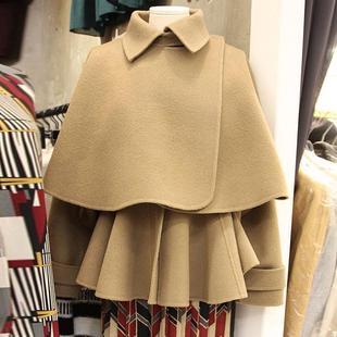 2020秋冬短外套女長袖短款蝙蝠型斗篷+連衣裙兩件套毛呢外套大衣