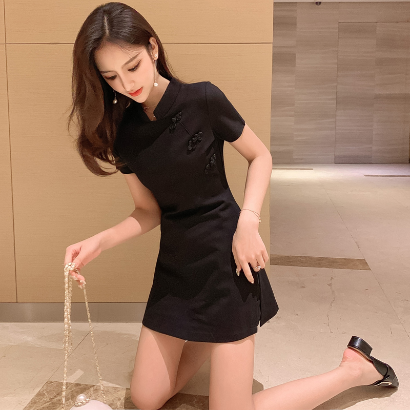 New improved version of cheongsam summer 2021 Korean style fashion suit with waist and thin dress