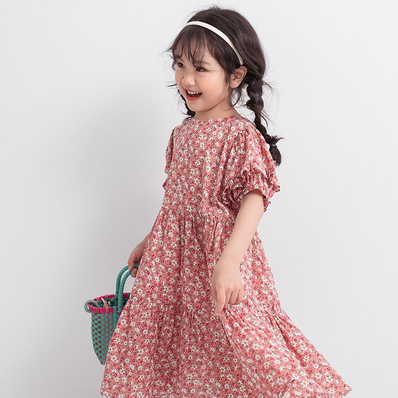 女童碎花连衣裙2020夏装新款复古花苞灯笼袖粉色儿童纯棉夏季裙子