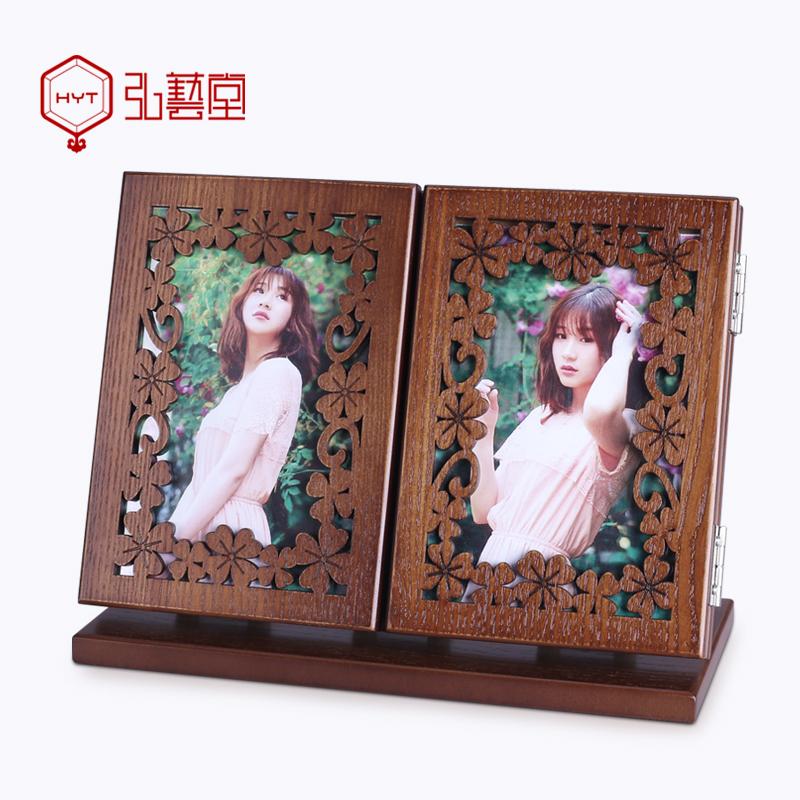 弘艺堂木质复古化妆镜台式随身折叠镜子欧式创意便携式梳妆镜大号