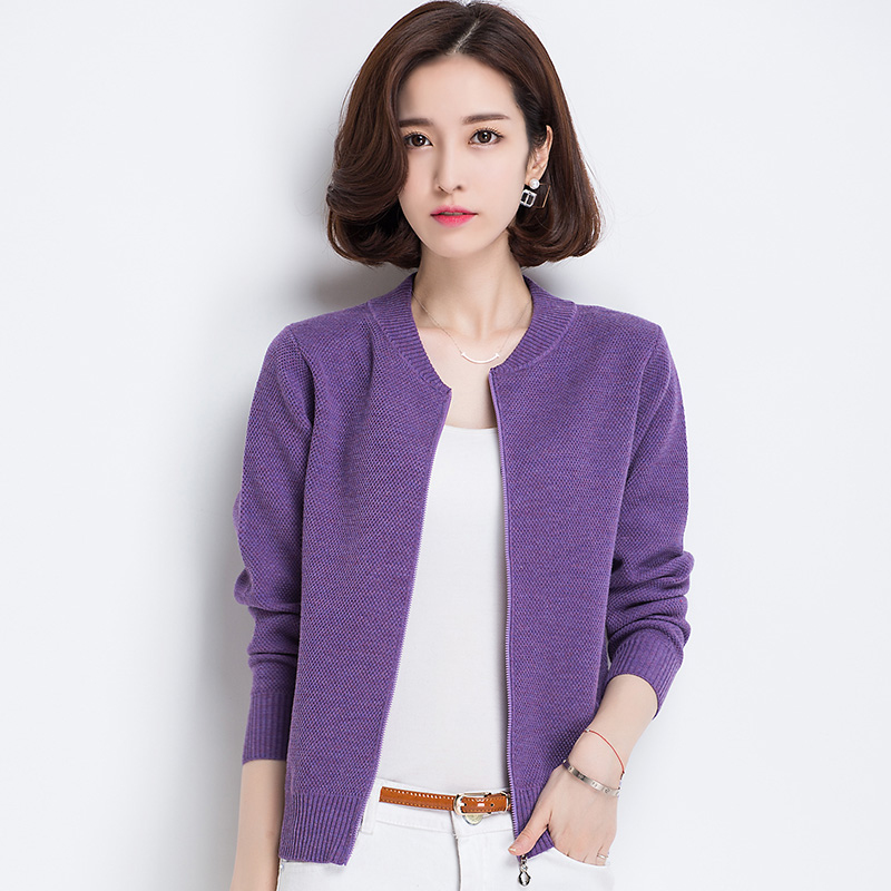 Small mom spring coat middle age temperament small thin zipper Baseball Jacket wool knitted jacket fashion