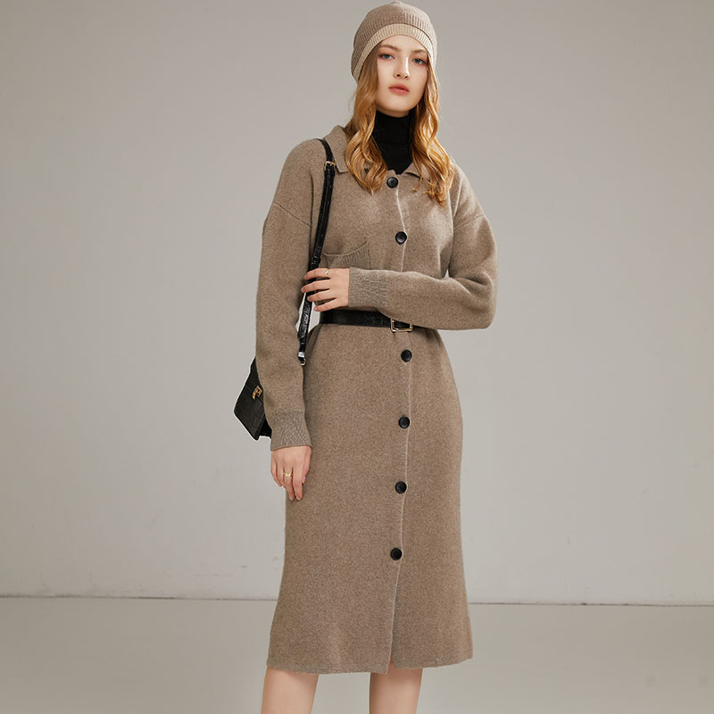 2021 autumn winter new solid cashmere dress coat Polo cardigan coat cashmere sweater warm wool dress