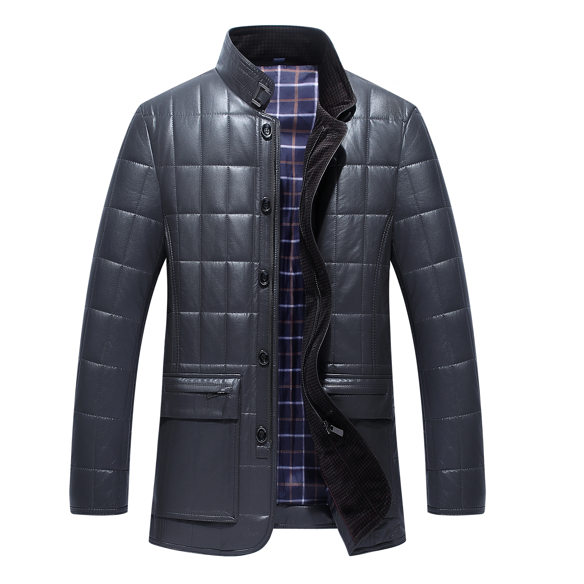Middle aged winter cotton padded jacket casual stand collar coat business gentleman jacket zipper button pattern