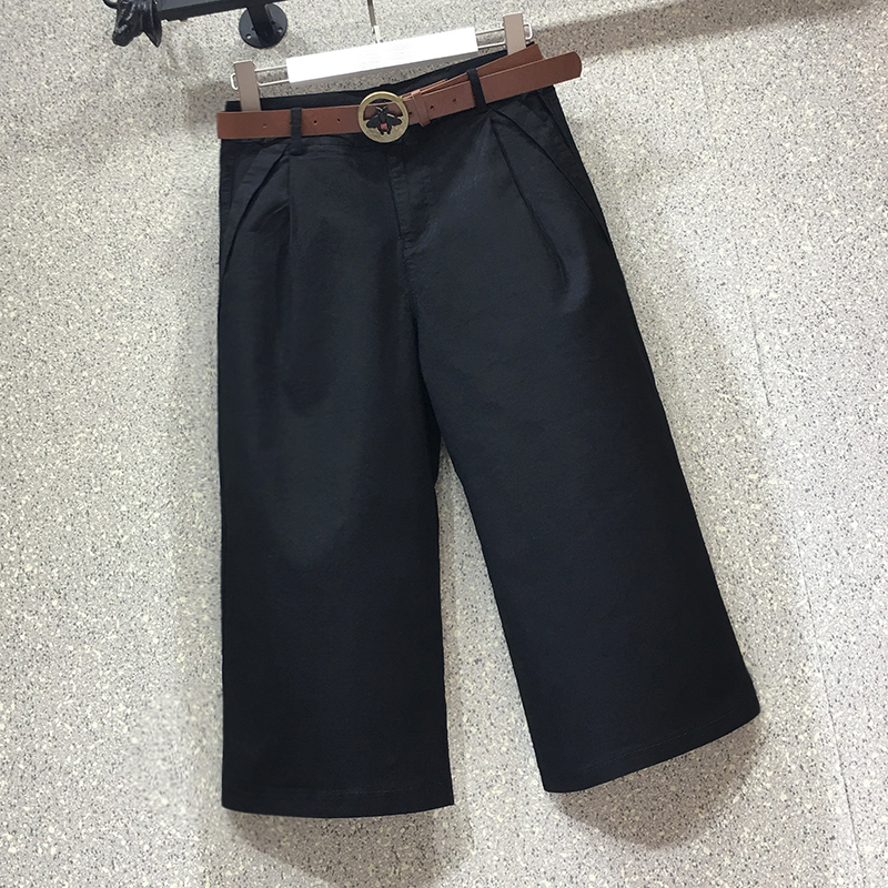 休闲阔腿七分裤子女2020新款夏季高腰弹力宽松显瘦薄款牛仔直筒裤