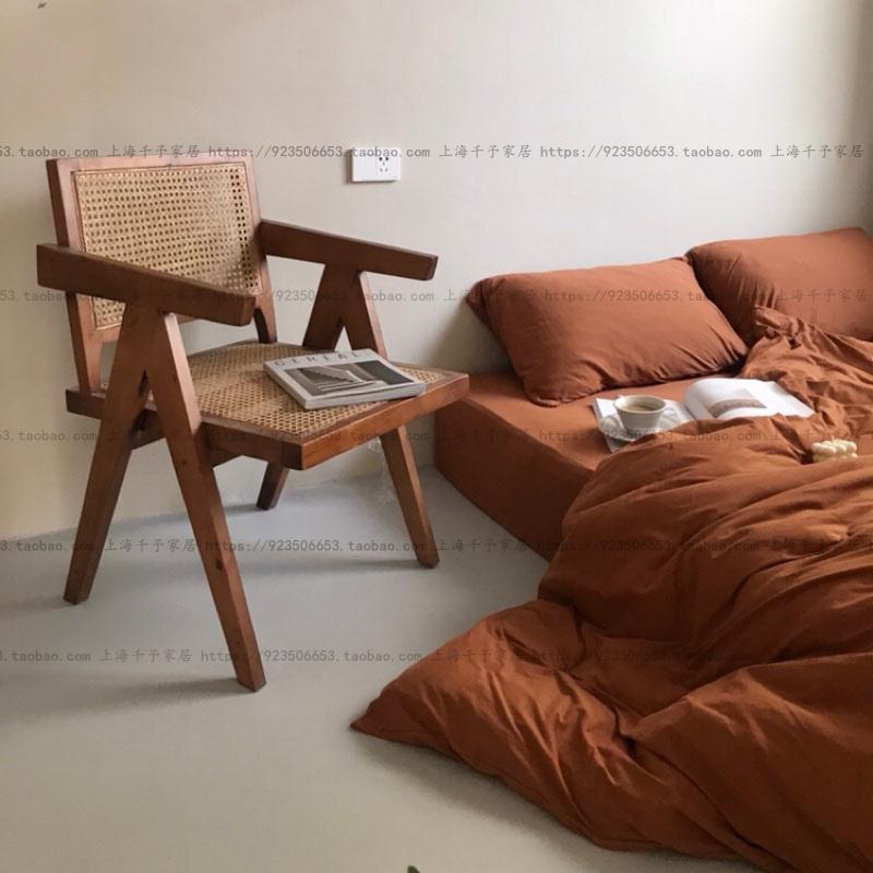 韩式简约法式复古天然藤编单人沙发休闲椅餐椅书椅梳妆椅直销