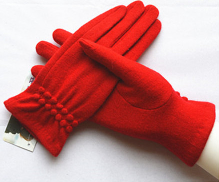 羊绒羊毛手套女短款大红色新娘结婚礼仪表演跳舞五指手套开车