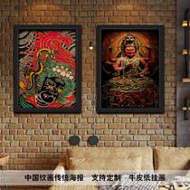 包邮不动明王尊菩萨纹身风牛皮纸海报装饰壁挂画实木框装裱可定制