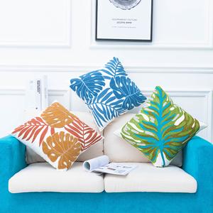 北欧精绣绣花文艺清新植物芭蕉叶抱枕 沙发装饰靠垫 居家布艺靠枕
