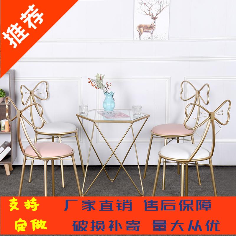 网红咖啡厅餐桌椅 ins风甜品店奶茶店桌椅组合 美容会客接待桌椅