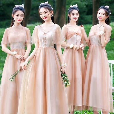伊莎贝尔伴娘礼服女2021新款平时可穿姐妹团仙气质显瘦学生裙夏季