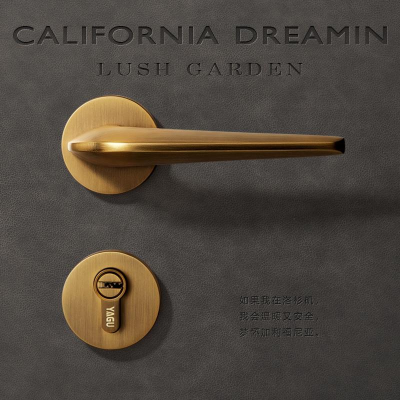 亚固北欧门锁室内卧室房门锁卫生间浴室美式黄古铜实木门把手锁具