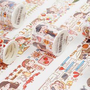 可爱小清新特油和纸胶带小麻薯系列女孩人物手帐素材离型贴纸胶带