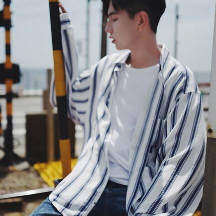 秋季外套oversize很仙的条纹衬衫男长袖韩版潮流帅气网红宽松衬衣