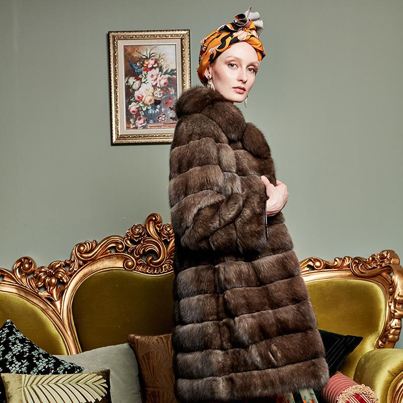 Befurs fluffy smooth Russian sable medium length classic chic Lapel medium length fur coat