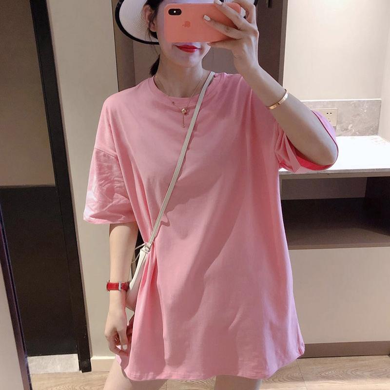 5600#官图实价 纯棉大码女装2021夏季新款纯色圆领宽松短袖t恤