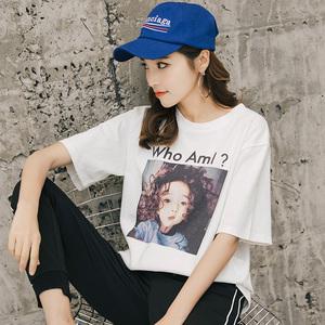693#实拍短袖t恤女夏装2018新款韩版宽松大码学生白色女装上衣服