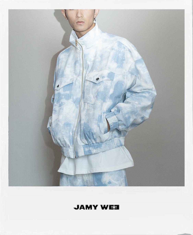 JAMY WEE原创港风复古蓝白扎染迷彩印花国潮炸街情侣牛仔夹克外套