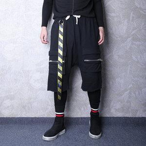 秋冬季高街嘻哈潮男休闲裤个性潮流飘带装饰两件套小脚哈伦裤裤子